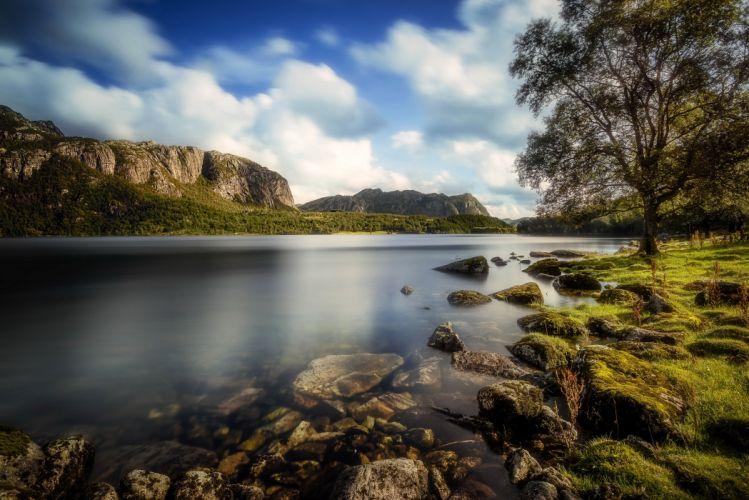 Norway Mountains Rivers Stones Sky Scenery Trees Moss Bjerkreim Rogaland Nature wallpaper