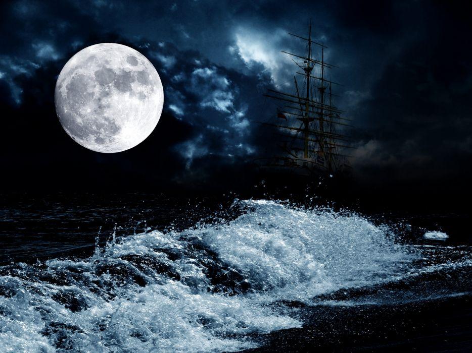 Sea Sailing Waves Ships Moon Night Nature wallpaper