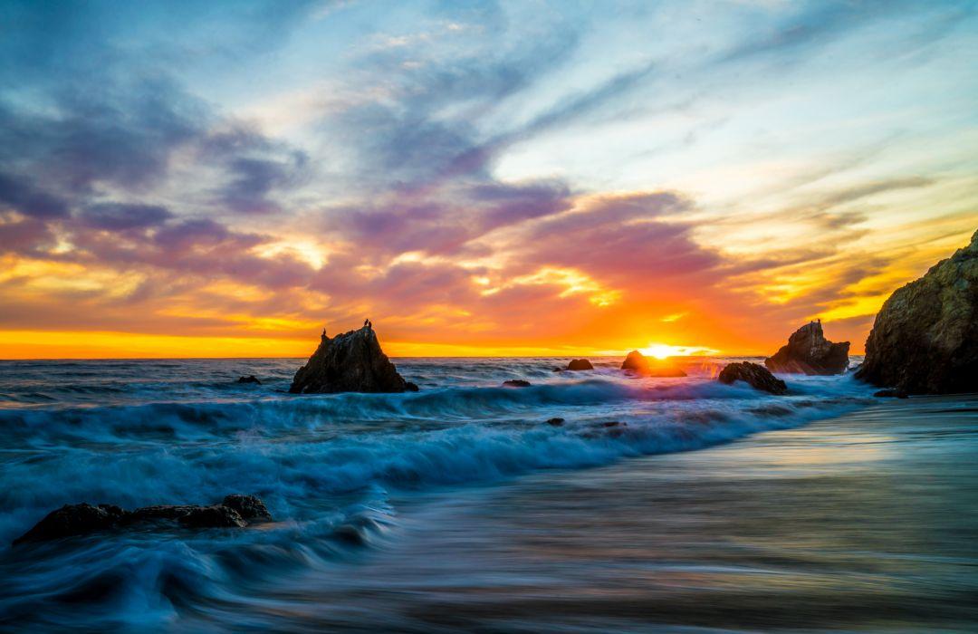 USA Coast Sunrises and sunsets Waves Sky Crag Malibu Nature wallpaper