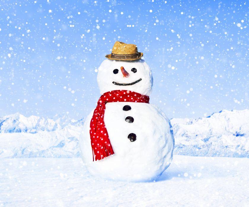 Winter Snow Snowmen Hat Snowflakes Nature wallpaper