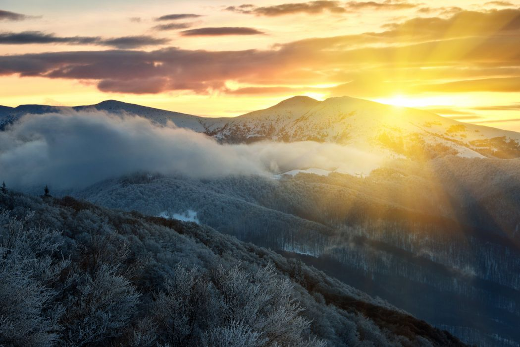 Scenery Mountains Sunrises and sunsets Sky Nature wallpaper