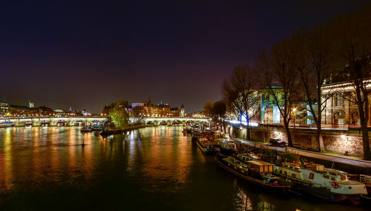 France Houses Rivers Bridges Marinas Motorboat Paris Night Cities wallpaper