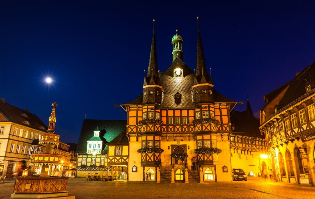 Houses Germany Night Street Wernigerode Cities wallpaper