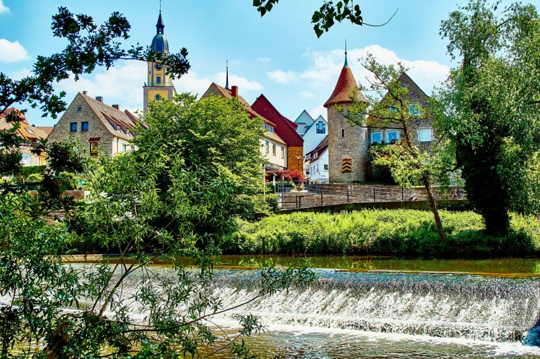 Germany Houses Waterfalls Crailsheim Cities wallpaper