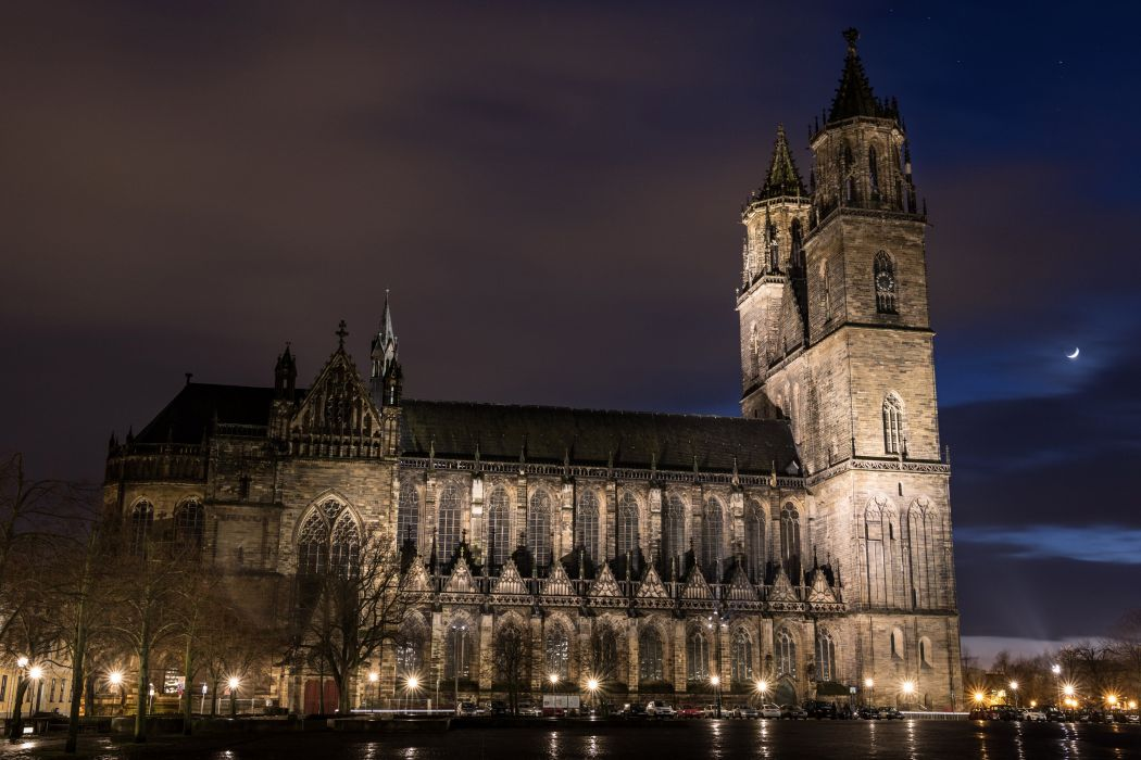 Germany Temples Night Street lights Cathedral Magdeburg Cities wallpaper