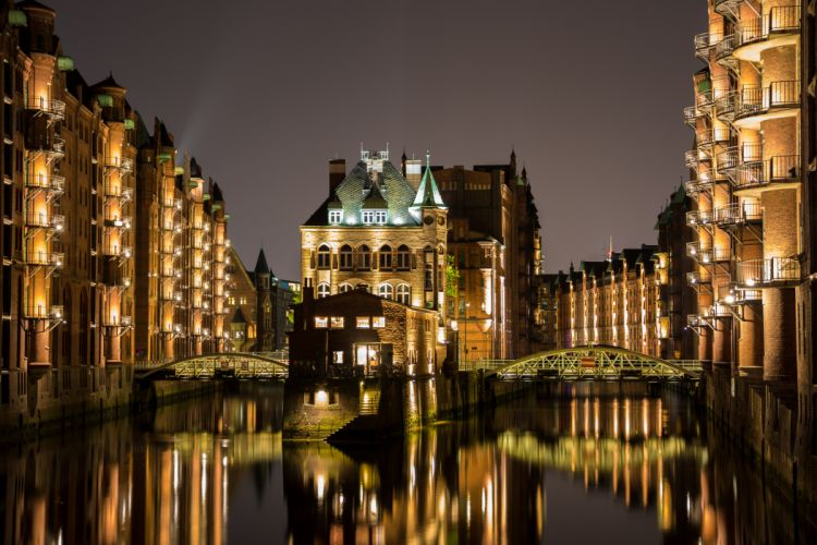 Hamburg Germany Houses Rivers Bridges Night Street lights Cities wallpaper