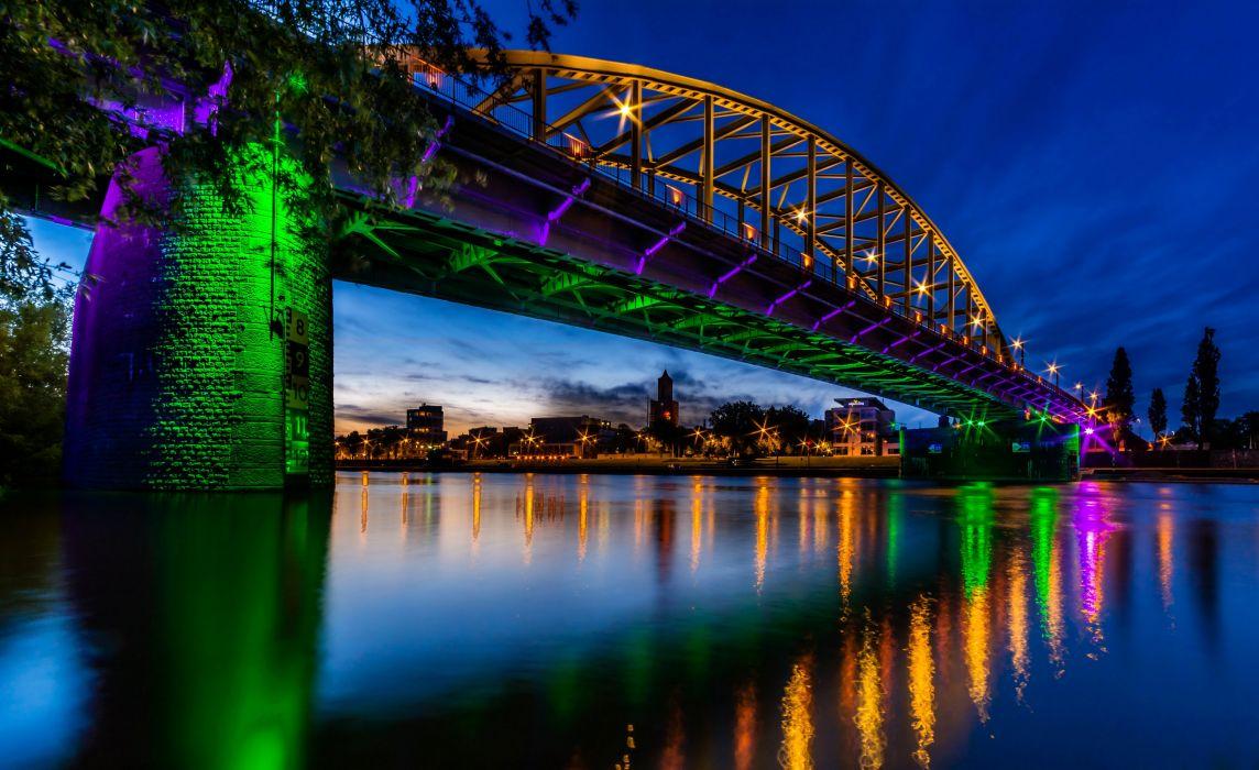 Netherlands Bridges Rivers Night John Frost Bridge Arnheim Cities wallpaper