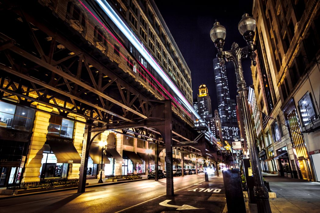 Houses USA Night Street Street lights Chicago city Wabash Avenue Cities wallpaper