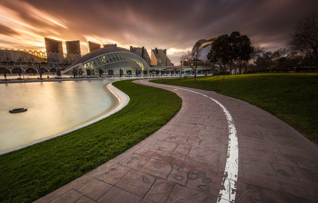 Spain Houses Lawn Pavement Valencia Cities wallpaper