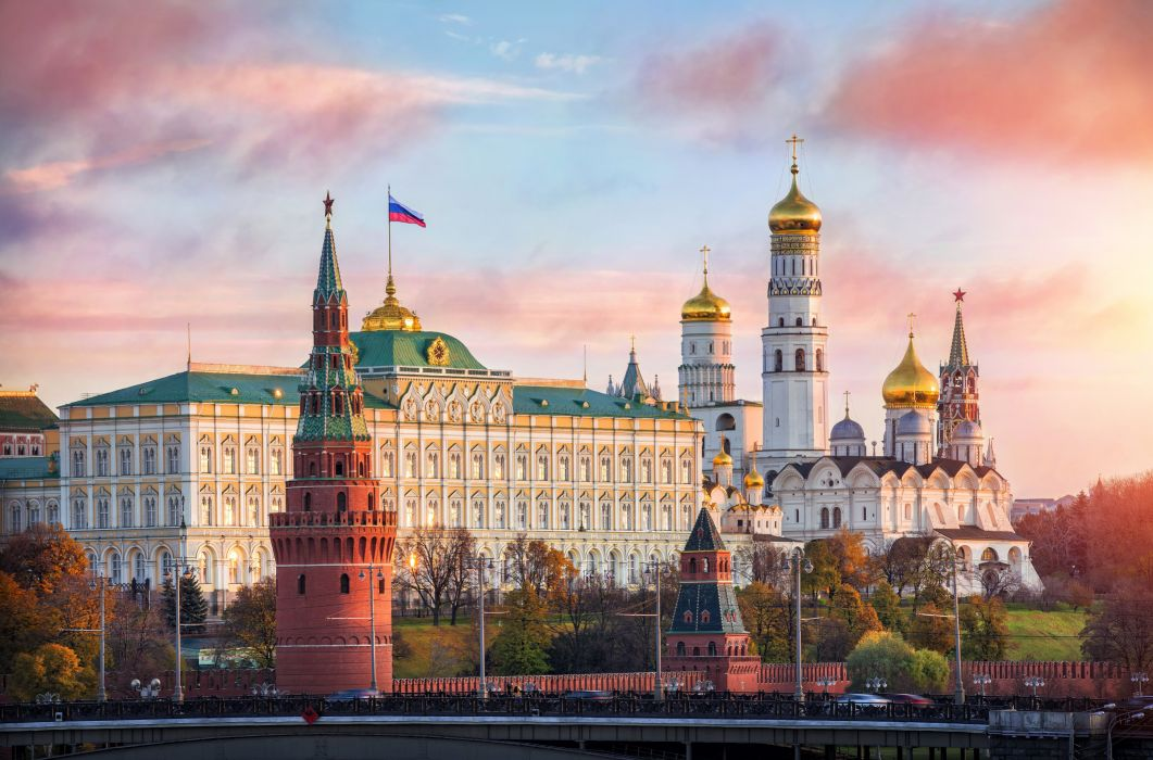 Russia Moscow Sunrises and sunsets Houses Temples Sky Cities wallpaper