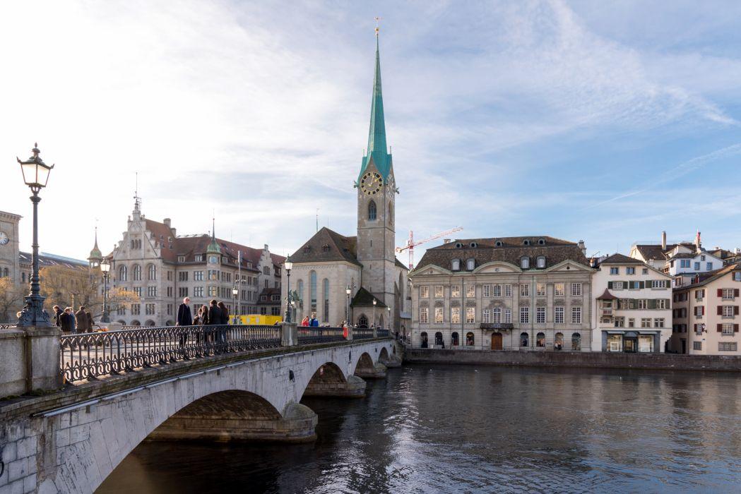 Switzerland Houses Rivers Bridges Temples Street lights Zurich Cities wallpaper