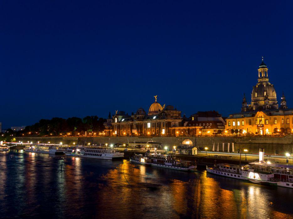 Dresden Germany Houses Rivers Marinas Ships Night Cities wallpaper