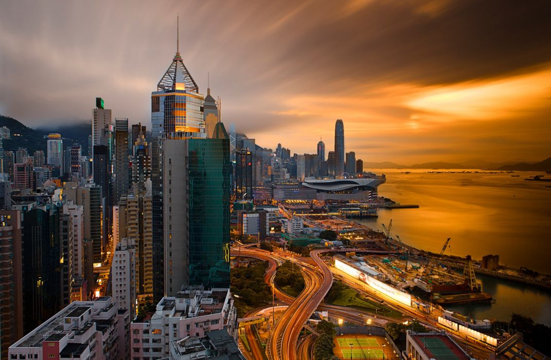 Evening Houses China Hong Kong Cities wallpaper