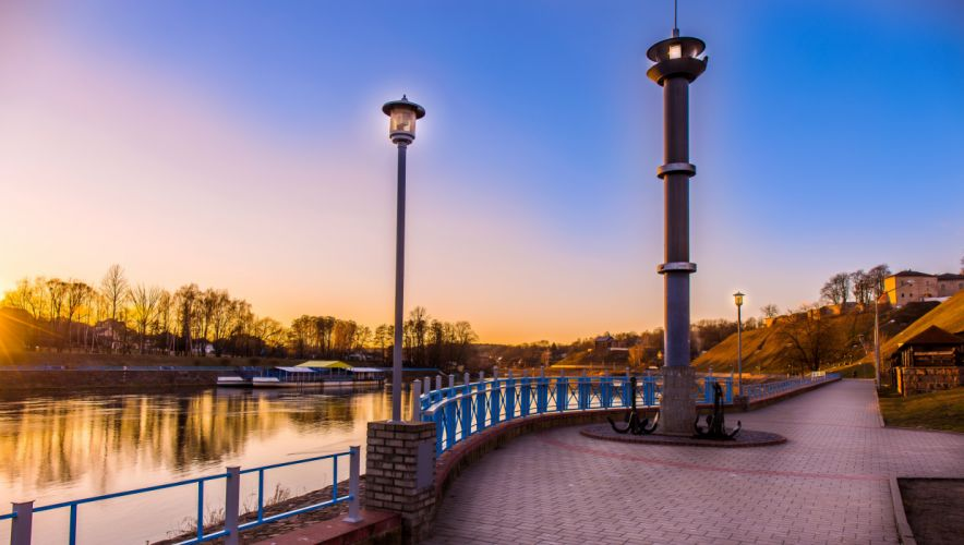 Belarus Rivers Coast Monuments Street lights Grodno Cities wallpaper