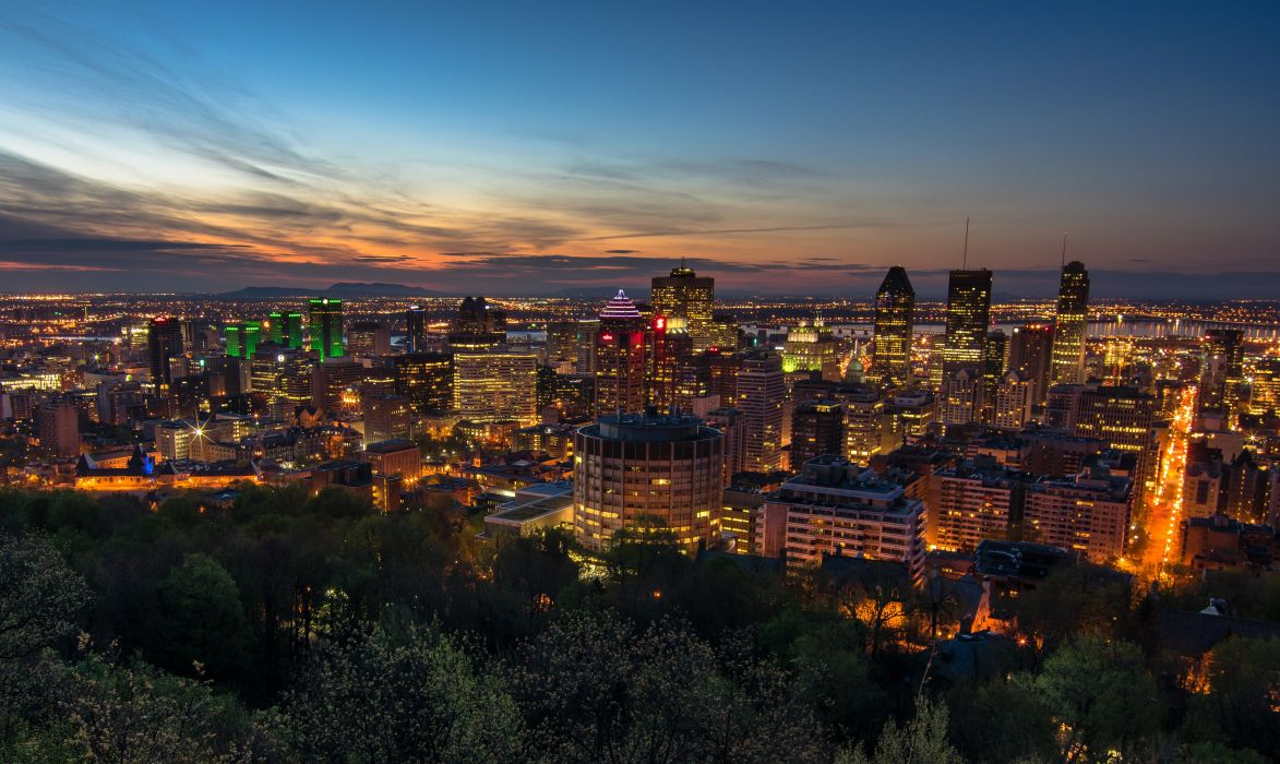 Canada Houses Sky Megapolis Night Montreal Cities wallpaper
