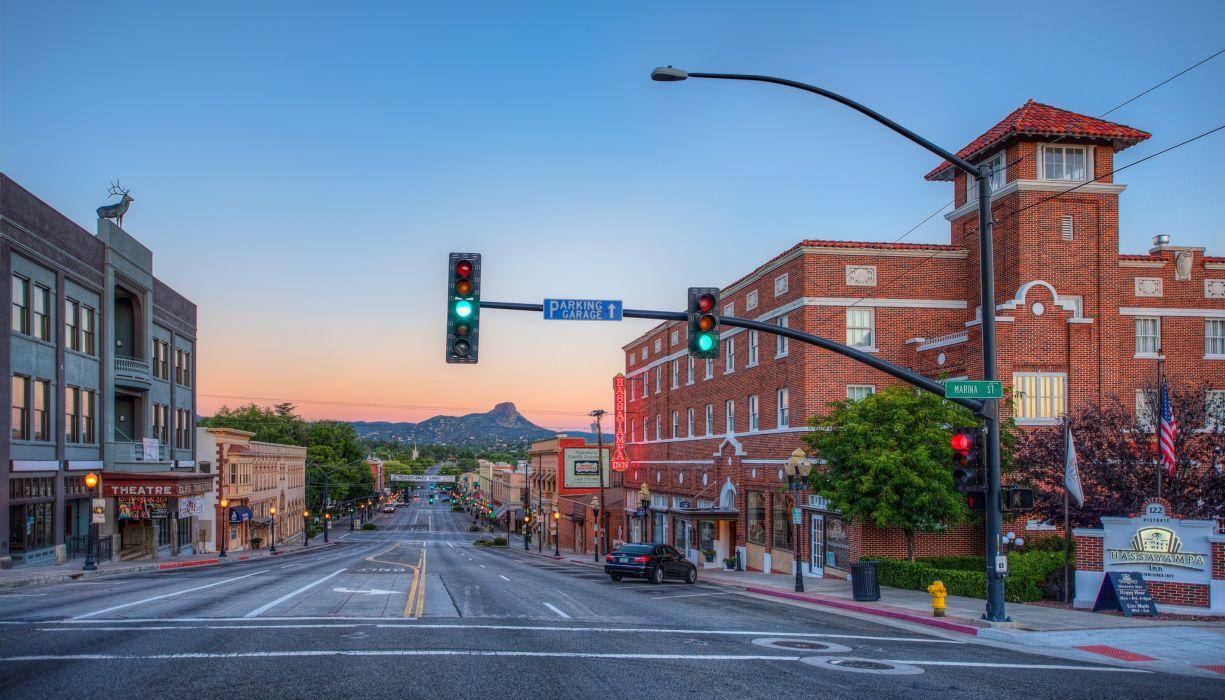 USA Houses Roads Evening Street Prescott Arizona Cities wallpaper