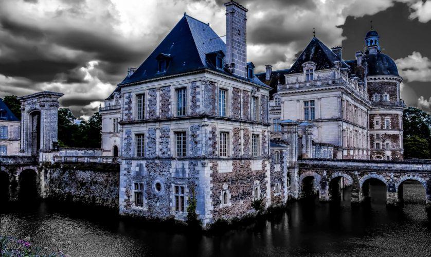 France Castles HDR Clouds Chateau de Serrant Cities wallpaper