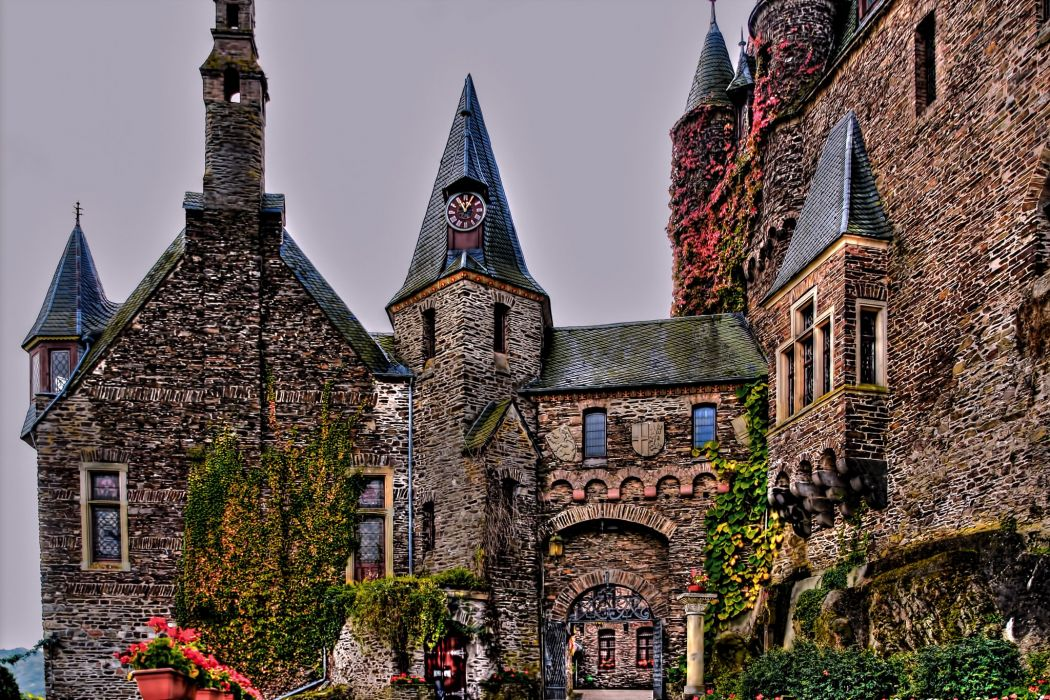 Cochem Germany Castles Design Reichsburg Cities wallpaper