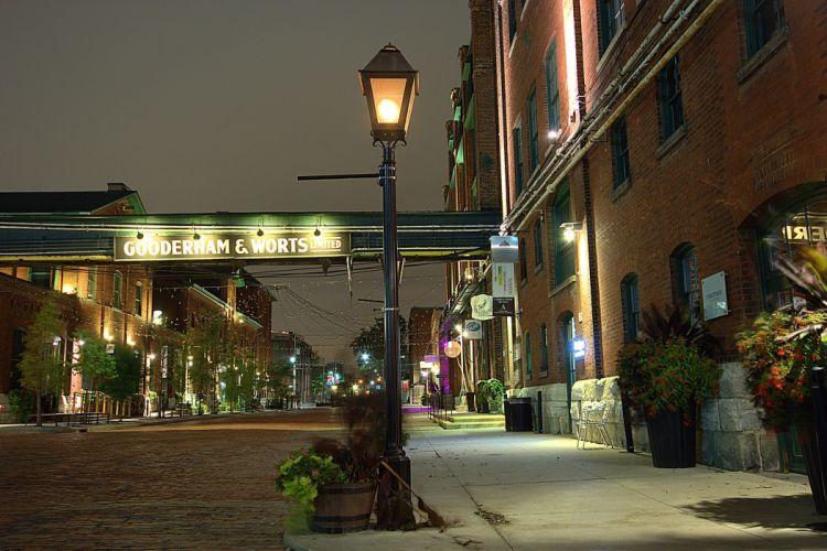 Canada Houses Street Night Street lights Toronto Cities wallpaper