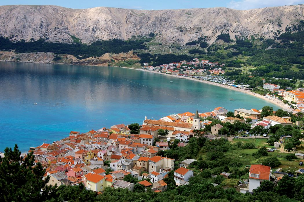 Croatia Houses Coast Baska Krk island Cities wallpaper