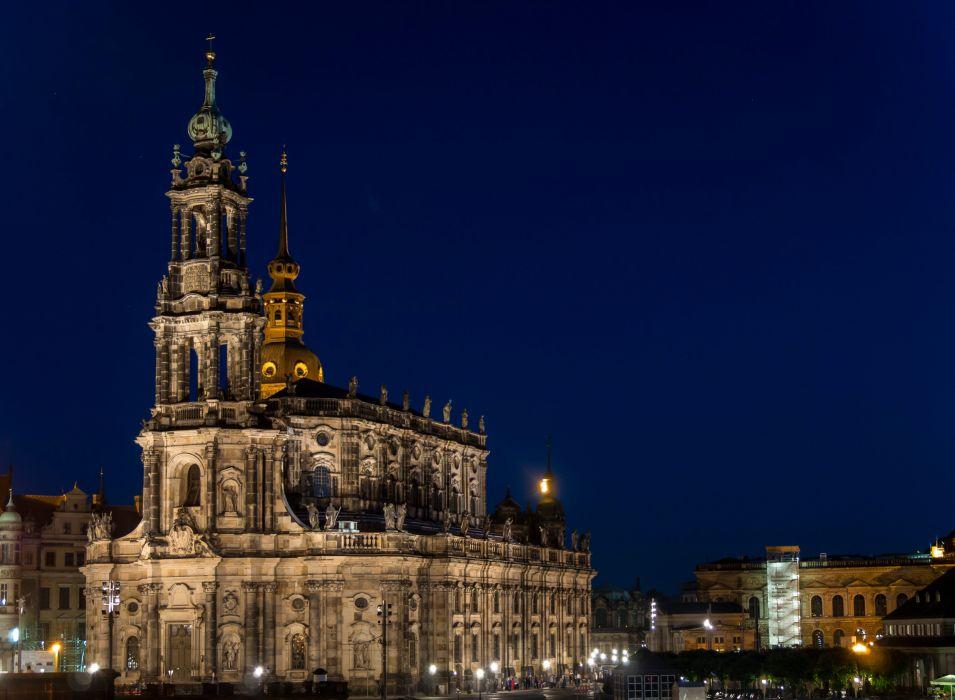 Dresden Germany Temples Night Street lights Kath Hofkirche Cities wallpaper