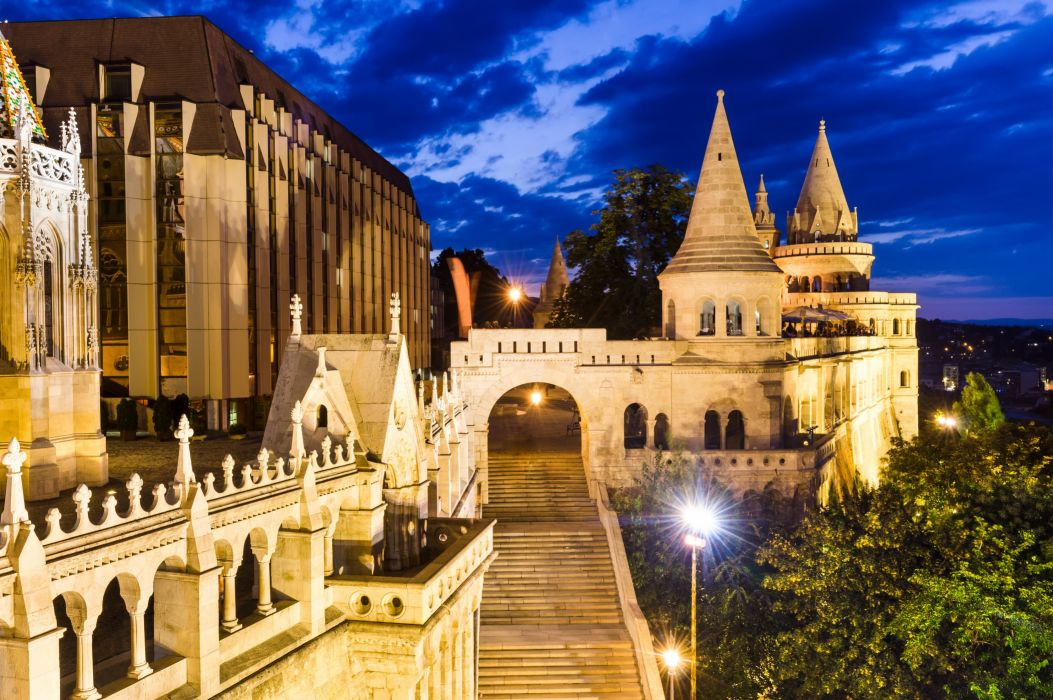 Castles Budapest Night Stairs Cities wallpaper