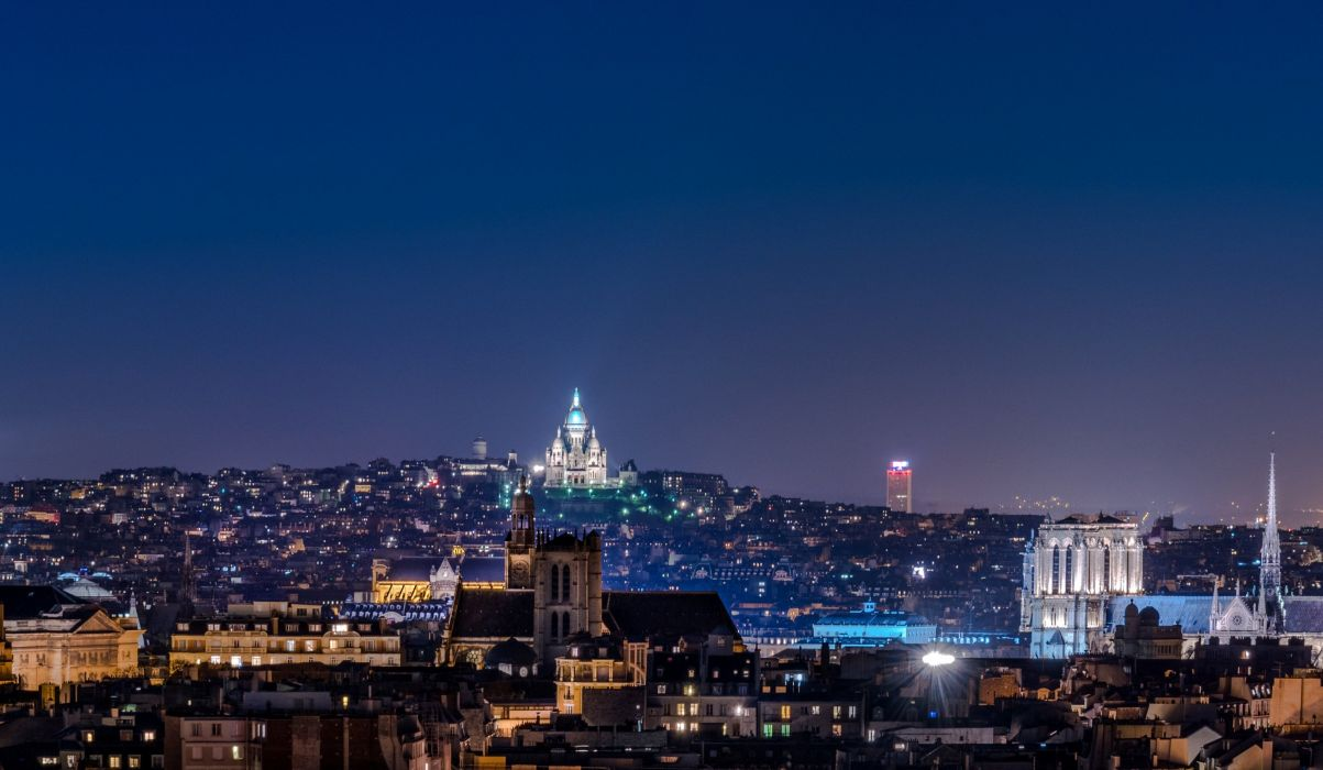 France Houses Paris Night Cities wallpaper