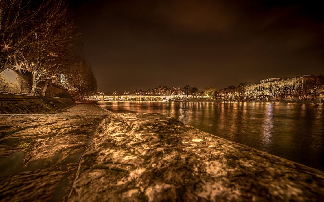France Houses Rivers Bridges Paris Night Cities wallpaper