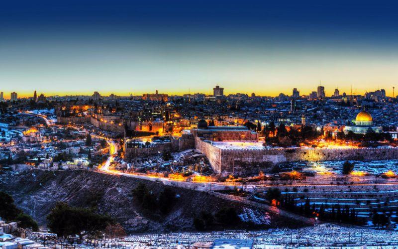 Israel Houses Temples Night Jerusalem Cities wallpaper