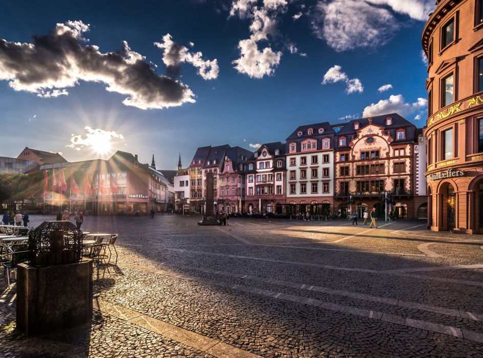 Germany Houses Sunrises and sunsets Sky Street Clouds Mainz Cities wallpaper