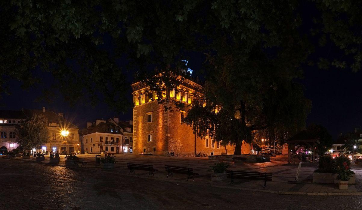 Poland Houses Temples Street Night Street lights Sandomierz Cities wallpaper