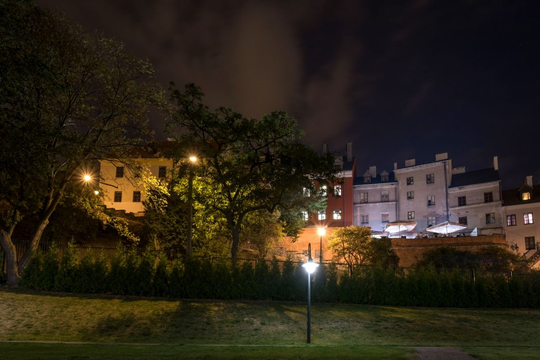 Poland Houses Trees Night Lublin Cities wallpaper