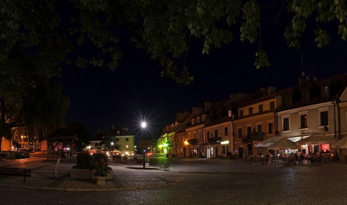 Poland Houses Street Night Street lights Sandomierz Cities wallpaper