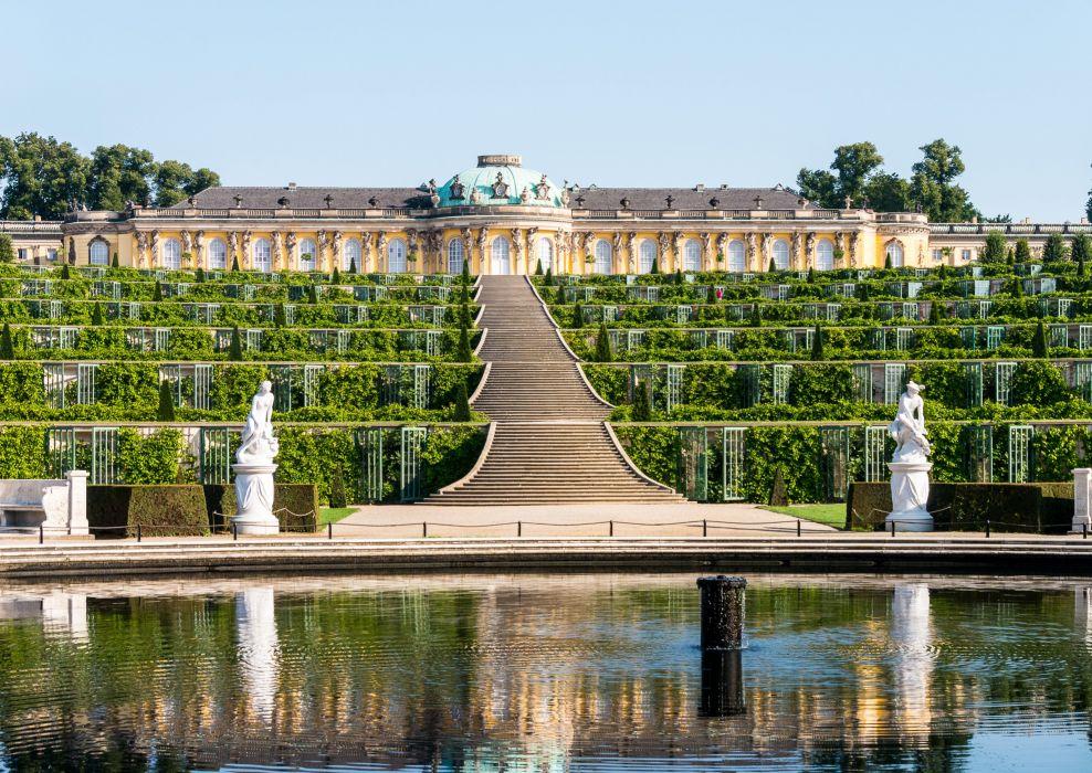 Germany Sculptures Palace Design Stairs Shrubs palace Sanssouci Potsdam Cities wallpaper