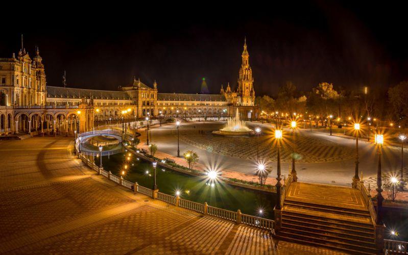 Spain Night Street Street lights Seville Cities wallpaper