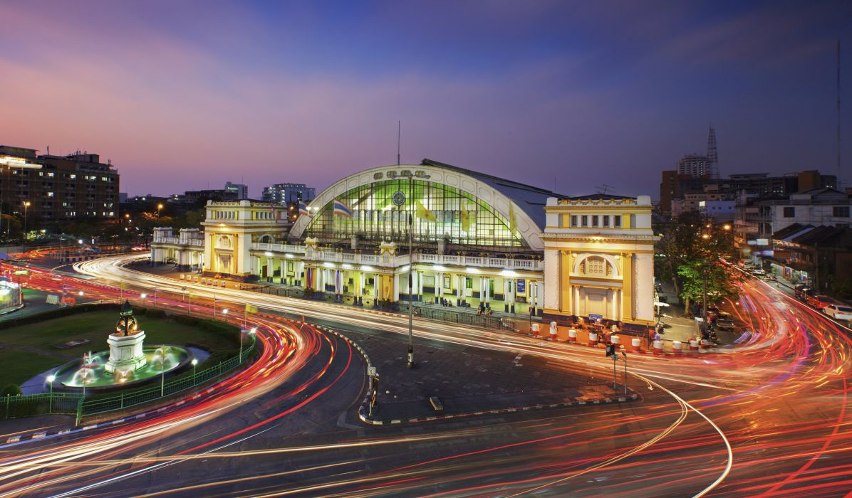 Bangkok Thailand Night Motion Hua lamphong train station Cities wallpaper