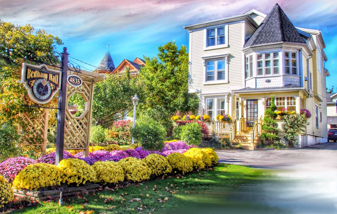 Canada Houses Chrysanthemums Design Shrubs Trees Street lights Niagara Falls Ontario Cities wallpaper