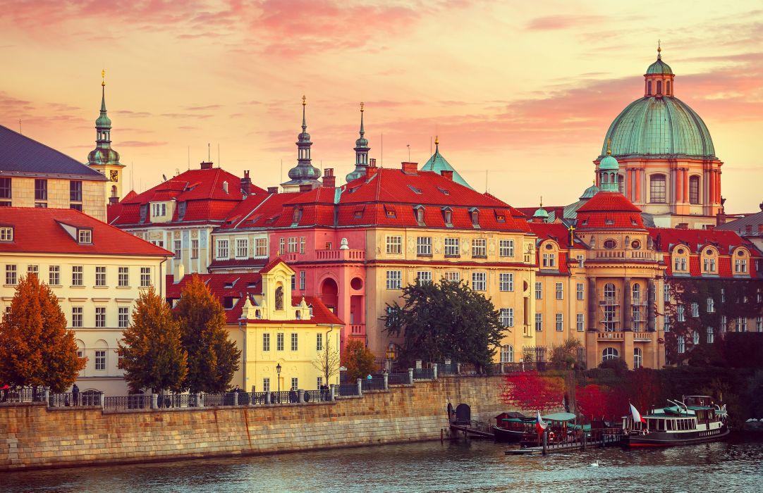 Prague Czech Republic Houses Rivers Marinas Motorboat Cities wallpaper