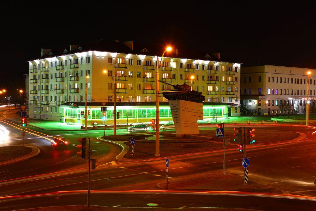 Belarus Houses Monuments Tanks Street Night Street lights Grodno Cities wallpaper