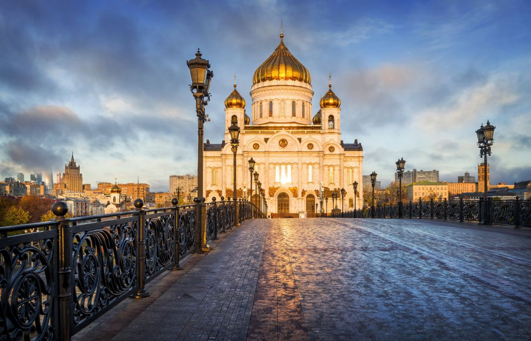 Russia Temples Bridges Moscow Street lights Cities wallpaper
