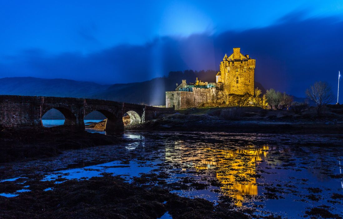Bridges Scotland Fortress Night Cities wallpaper