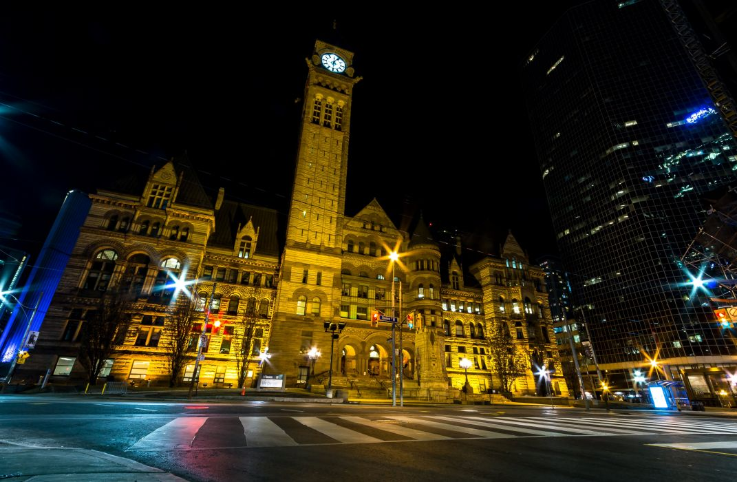Canada Houses Night Street lights Toronto Cities wallpaper