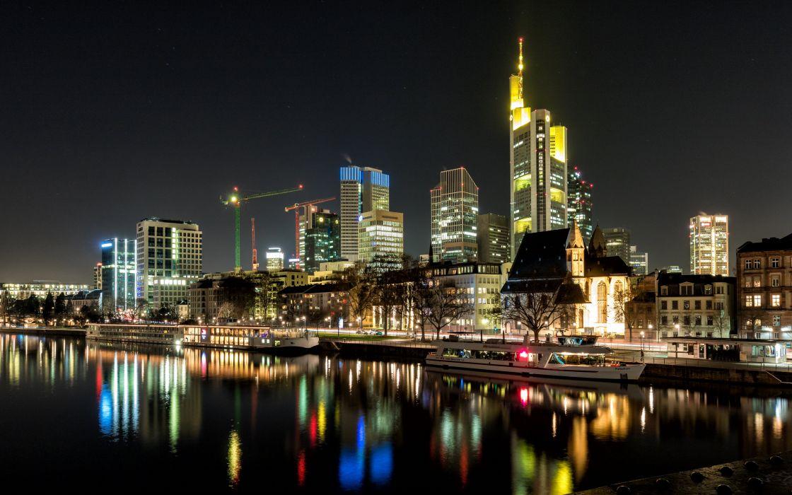 Germany Houses Rivers Marinas Ships Night Frankfurt Cities wallpaper