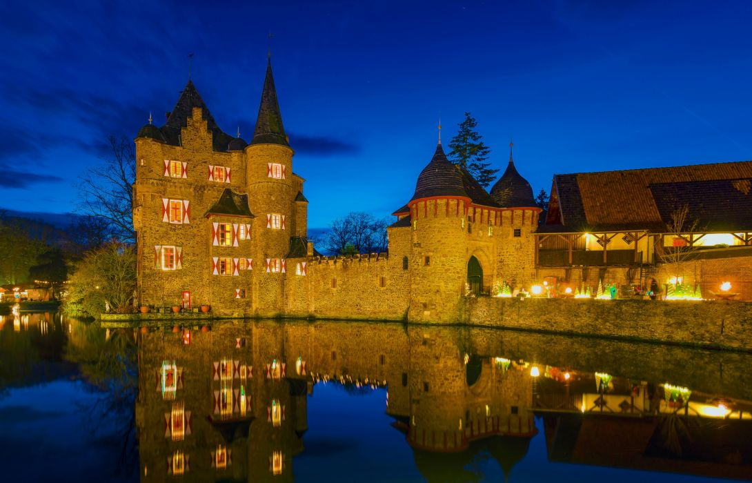 Germany Castles Rivers Night Street lights Wasserburg Satzvey Cities wallpaper