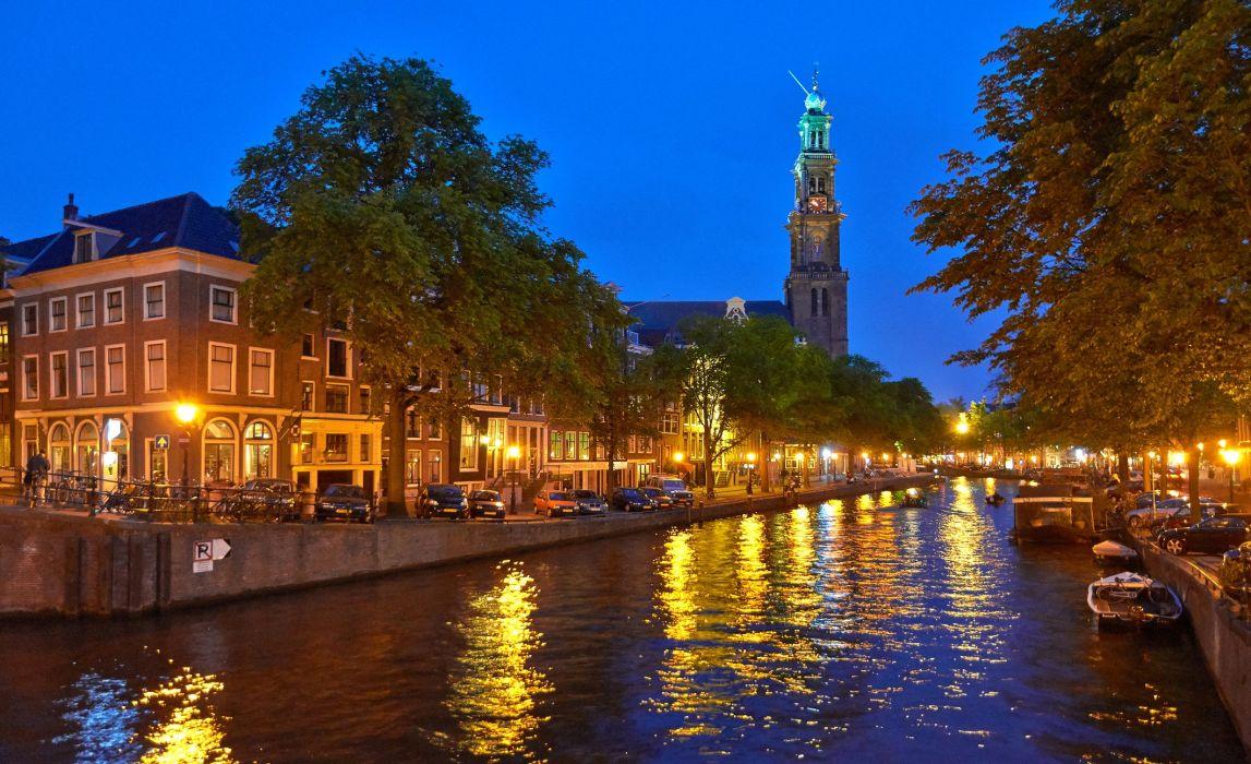 Houses Netherlands Canal Street lights Amsterdam Cities wallpaper