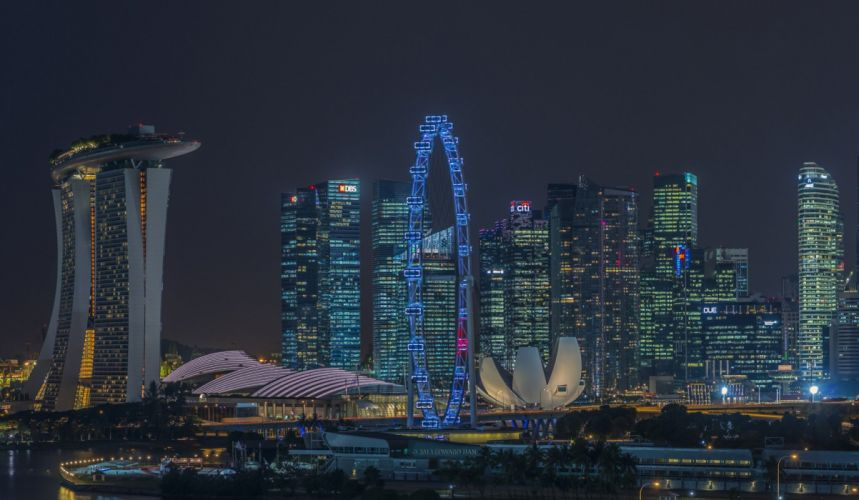 Singapore Skyscrapers Houses Night Cities wallpaper