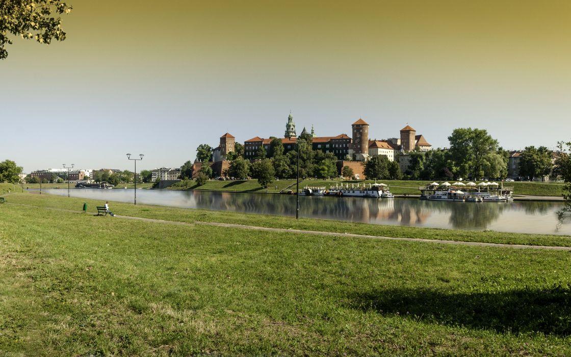 Poland Castles Rivers Grass Wawel Royal Castle Krakow Cities wallpaper