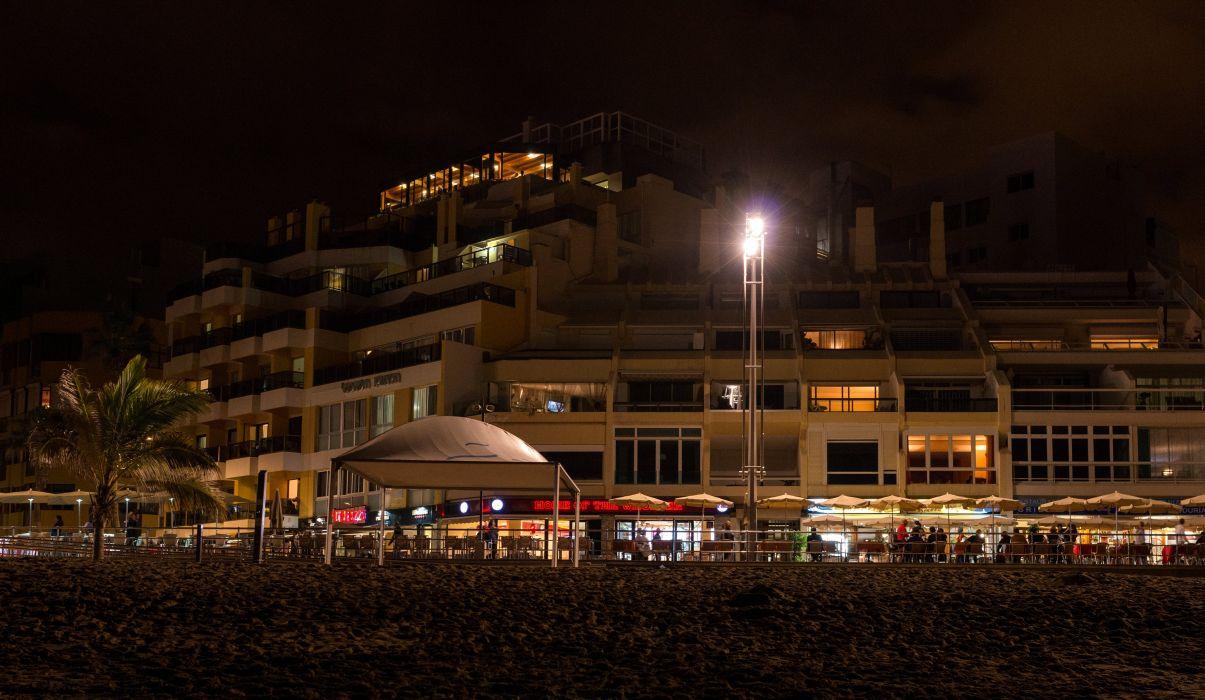 Spain Houses Canary Islands Night Street lights Las Palmas Gran Canaria Cities wallpaper