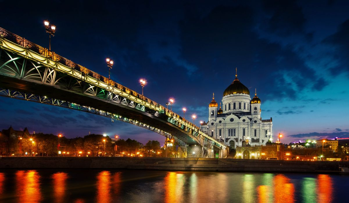 Bridges Rivers Russia Night Cathedral of Christ the Saviour Cities wallpaper
