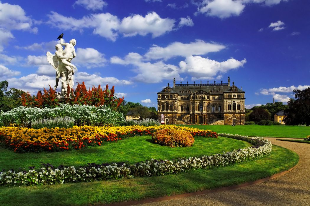Dresden Germany Parks Sculptures Palace Lawn Shrubs Clouds Cities wallpaper